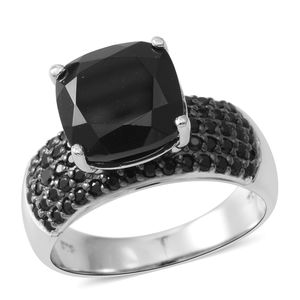 Thai Black Spinel Sterling Silver Ring (Size 8.0) TGW 10.24 cts.