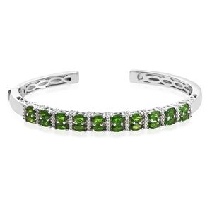 Russian Diopside Platinum Over Sterling Silver Cuff (7.25 in) TGW 4.90 cts.
