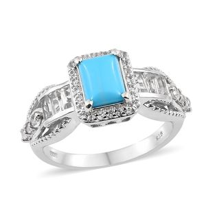 Arizona Sleeping Beauty Turquoise, White Topaz Platinum Over Sterling Silver Ring (Size 7.0) TGW 3.01 cts.