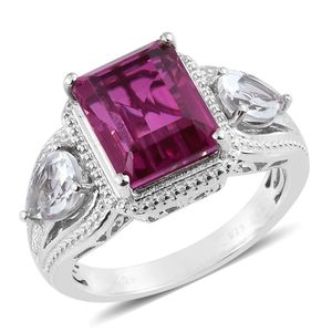 Radiant Orchid Quartz, White Topaz Platinum Over Sterling Silver Ring (Size 7.0) TGW 7.11 cts.