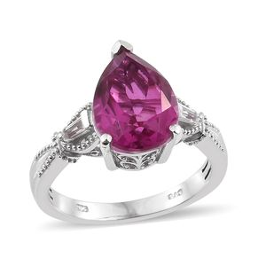 Radiant Orchid Quartz, White Topaz Platinum Over Sterling Silver Ring (Size 7.0) TGW 5.77 cts.