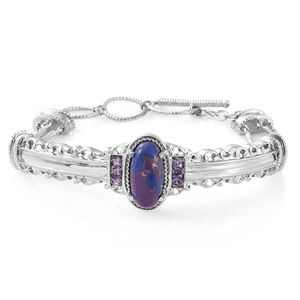TLV Mojave Purple Turquoise, Simulated Amethyst Diamond Stainless Steel Bangle (7.25 in) TGW 8.52 cts.