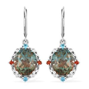 Aqua Terra Costa Quartz, Multi Gemstone Platinum Over Sterling Silver Earrings TGW 11.31 cts.