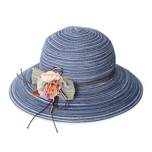Navy 100% Straw Paper Hat with Flower in The Top (One Size)