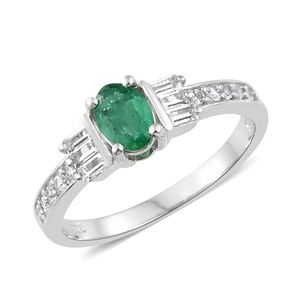 Brazilian Emerald, White Topaz Platinum Over Sterling Silver Ring (Size 8.0) TGW 1.41 cts.