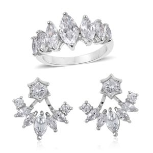 Simulated White Diamond Silvertone Ear Jacket Earrings and Ring (Size 8) TGW 3.50 cts.