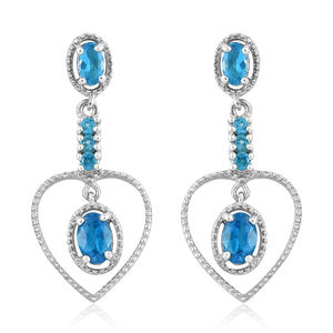Malgache Neon Apatite Platinum Over Sterling Silver Earrings TGW 1.66 cts.