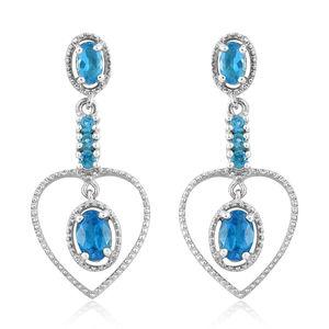 Malgache Neon Apatite Platinum Over Sterling Silver Earrings TGW 1.66 cts.