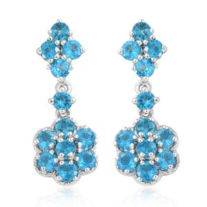 Malgache Neon Apatite Platinum Over Sterling Silver Floral Dangle Earrings TGW 2.80 cts.