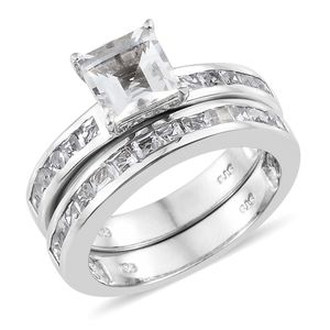 Set of 2 White Topaz Platinum Over Sterling Silver Stack Ring (Size 8.0) TGW 4.25 cts.