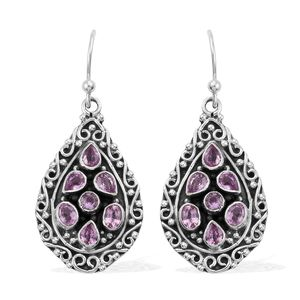 Artisan Crafted Madagascar Pink Sapphire Sterling Silver Earrings TGW 2.44 cts.