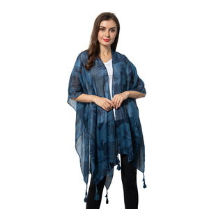Navy 100% Polyester Flower Pattern Kimono with Small Tassels (35.5x38 in)