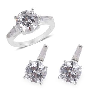 Simulated Diamond Stainless Steel Earrings and Ring (Size 9) TGW 3.40 cts.
