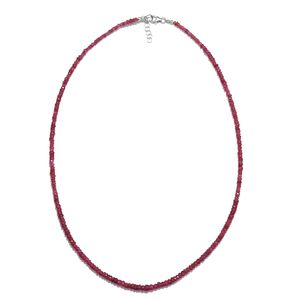 Niassa Ruby Beads Sterling Silver Necklace (18 in) TGW 50.00 cts.