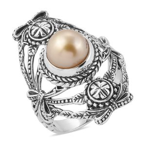 Bali Legacy Collection South Sea Golden Pearl (9.5 mm) Sterling Silver Elongated Ring (Size 7.0)
