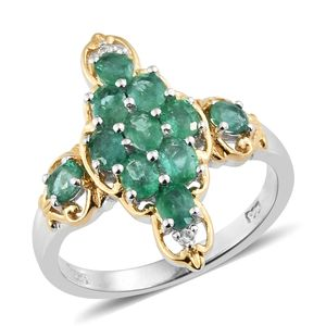 Brazilian Emerald, Cambodian Zircon 14K YG and Platinum Over Sterling Silver Ring (Size 7.0) TGW 1.68 cts.