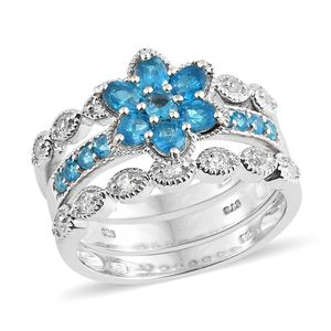 Malgache Neon Apatite, White Topaz Platinum Over Sterling Silver Stackable Rings (Size 7.0) TGW 2.14 cts.