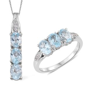 Customer Appreciation Day Sky Blue Topaz, Cambodian Zircon Platinum Over Sterling Silver Ring (Size 10) and Pendant With Chain (20 in) TGW 6.00 cts.