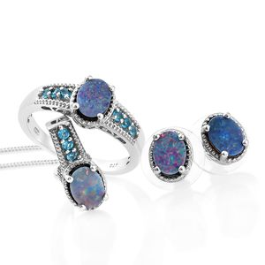 Australian Boulder Opal, Malgache Neon Apatite Platinum Over Sterling Silver Earrings, Ring (Size 8) and Pendant With Chain (20 in) TGW 3.79 cts.