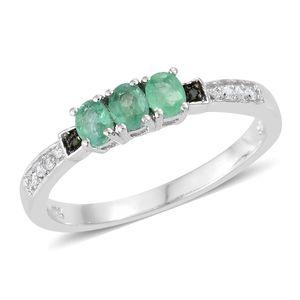 Brazilian Emerald, Cambodian Zircon, Diamond Accent Platinum Over Sterling Silver Ring (Size 8.0) TGW 0.61 cts.