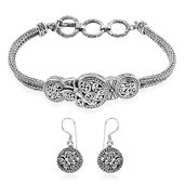 TLV Bali Legacy Collection Sterling Silver Butterfly Tulang-naga Bracelet (7.50 In) and Earrings