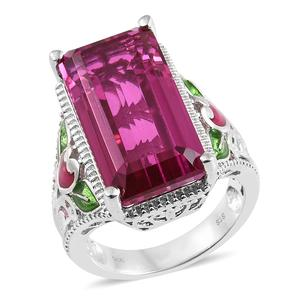 Radiant Orchid Quartz, Enameled Platinum Over Sterling Silver Floral Elongated Ring (Size 9.0) TGW 21.10 cts.