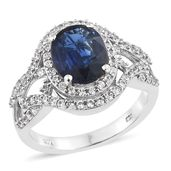 Dan's Collector Deal Himalayan Kyanite, Cambodian Zircon Platinum Over Sterling Silver Ring (Size 9.0) TGW 5.60 cts.