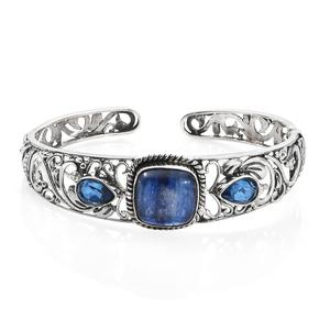 TLV Himalayan Kyanite, Ceylon Blue Sapphire Quartz Sterling Silver Cuff (6.75 in) TGW 14.56 cts.