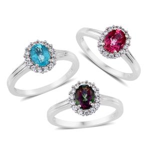 Northern Lights Mystic Topaz, Pure Pink Mystic Topaz, Paraiba Topaz, Cambodian Zircon Platinum Over Sterling Silver Set of 3 Ring (Size 10) TGW 5.65 cts.