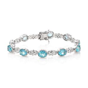 Paraiba Topaz, Cambodian Zircon Platinum Over Sterling Silver Bracelet (7.25 In) TGW 14.97 cts.