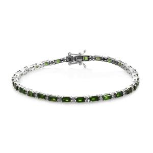 Russian Diopside, Cambodian Zircon Platinum Over Sterling Silver Bracelet (8.00 In) 0 TGW 7.90 cts.