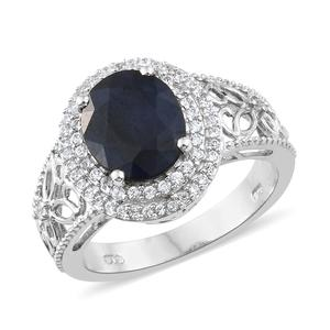 Madagascar Blue Sapphire, Cambodian Zircon Platinum Over Sterling Silver Ring (Size 10.0) TGW 5.13 cts.
