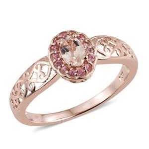 Marropino Morganite, Morro Redondo Pink Tourmaline Vermeil RG Over Sterling Silver Ring (Size 5.0) TGW 0.49 cts.