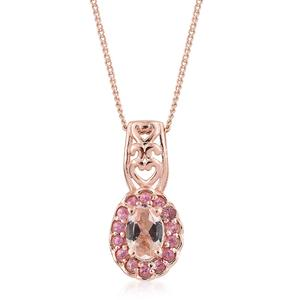 Marropino Morganite, Morro Redondo Pink Tourmaline Vermeil RG Over Sterling Silver Pendant With Chain (20 in) TGW 0.49 cts.