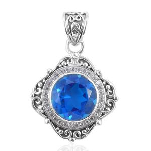 Bali Legacy Collection Caribbean Quartz, White Zircon Sterling Silver Pendant without Chain TGW 5.64 cts.