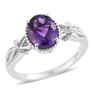 Moroccan Amethyst Platinum Over Sterling Silver Split Ring (Size 7.0) TGW 2.50 cts.