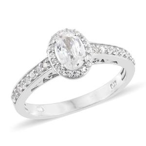 Natural White Zircon Platinum Over Sterling Silver Ring (Size 8.0) TGW 1.80 cts.