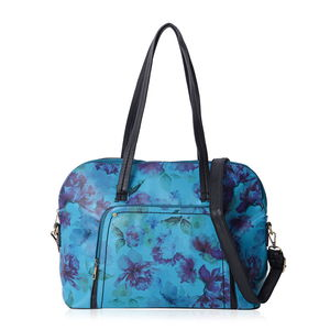 Blue with Black Flower Pattern Faux Leather Bowling Bag with Removable Shoulder Strap (17x5x12 in)