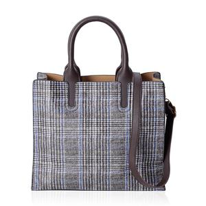 Black Faux Leather Houndstooth and Plaid Mix Pattern Tote Bag with Handle Drop and Shoulder Strap (12.4x4.4x11 in)