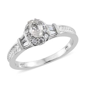 Natural White Zircon Platinum Over Sterling Silver Ring (Size 8.0) TGW 1.41 cts.