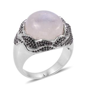 Bali Legacy Collection Rainbow Moonstone, Thai Black Spinel Sterling Silver Ring (Size 8.0) TGW 15.07 cts.
