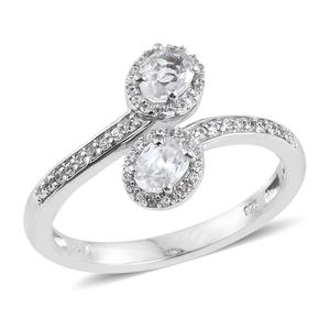 Natural White Zircon Platinum Over Sterling Silver Bypass Ring (Size 7.0) TGW 1.45 cts.