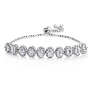 Natural White Zircon Platinum Over Sterling Silver Bolo Bracelet (Adjustable) (9.50 In) TGW 7.20 cts.