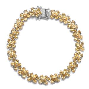 TLV Brazilian Citrine Platinum Over Sterling Silver Bracelet (8.00 In) TGW 16.74 cts.