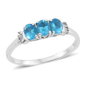 Malgache Neon Apatite, Diamond Platinum Over Sterling Silver Ring (Size 5.0) TDiaWt 0.06 cts, TGW 1.06 cts.