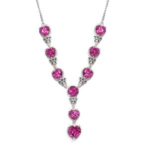 Radiant Orchid Quartz, Morro Redondo Pink Tourmaline Platinum Over Sterling Silver Heart Necklace (18-20 in) TGW 21.02 cts.