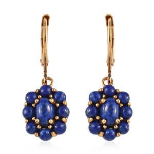 KARIS Collection - Lapis Lazuli ION Plated 18K YG Brass Lever Back Floral Earrings TGW 3.61 cts.