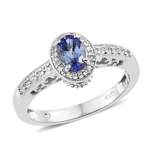 Tanzanite, Cambodian Zircon Platinum Over Sterling Silver Ring (Size 7.0) TGW 1.04 cts.