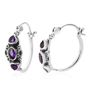 Lusaka Amethyst Sterling Silver Hoop Earrings TGW 1.62 cts.
