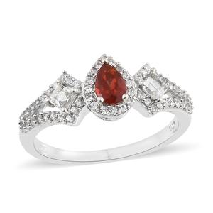 Crimson Fire Opal, Multi Gemstone Platinum Over Sterling Silver Ring (Size 5.0) TGW 1.26 cts.